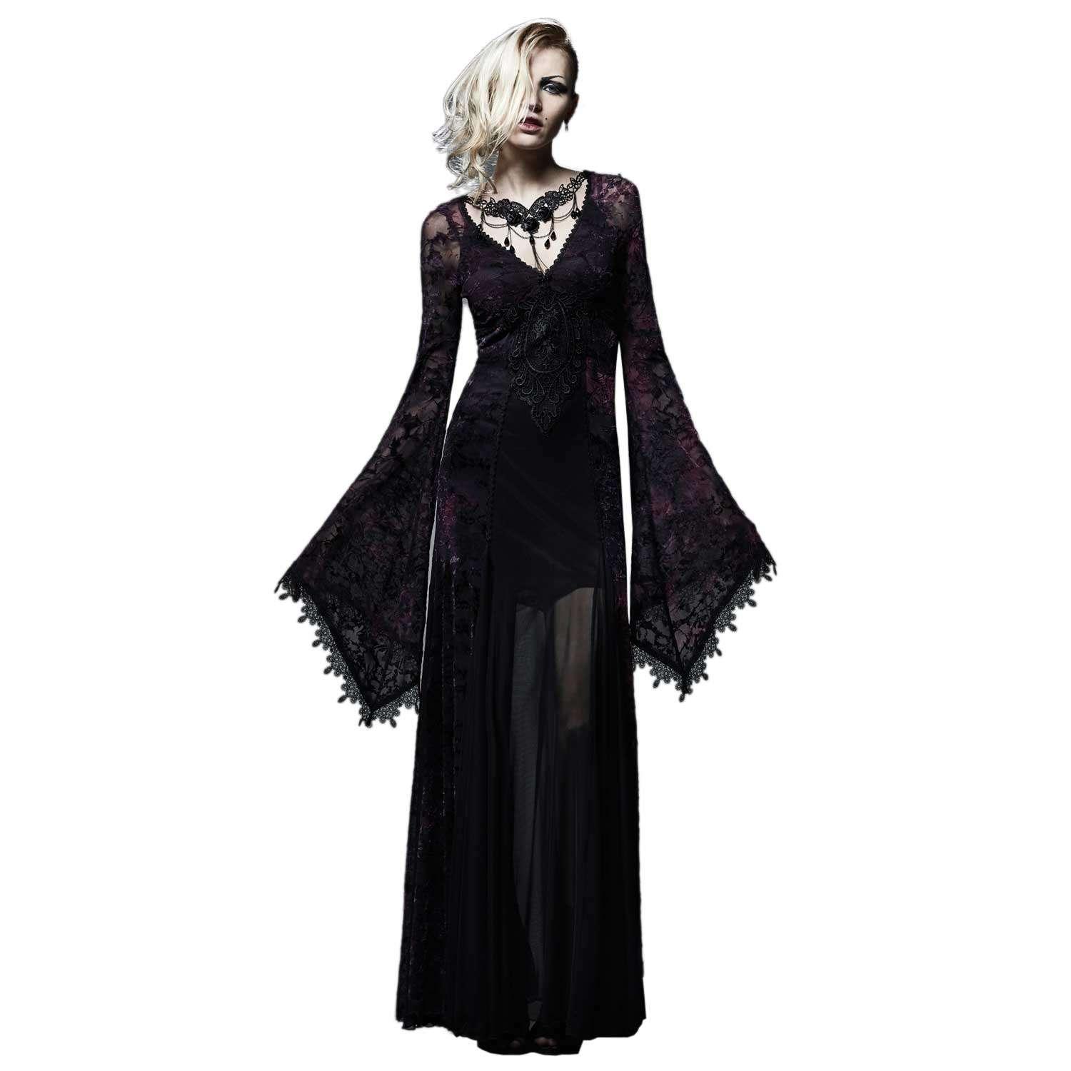 Viktorianisches Kleid mit Fledermausärmeln und Stickereien ...