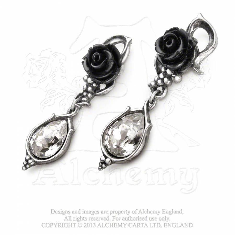 schwarze rosenbl te ohrstecker bacchanal rose voodoomaniacs. Black Bedroom Furniture Sets. Home Design Ideas