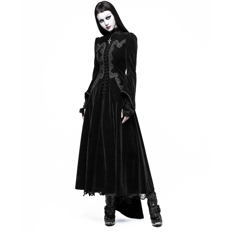 Viktorianischer schwarzer Samt Mantel mit Stehkragen | VOODOOMANIACS