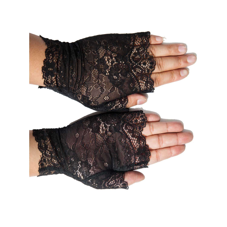 Fingerlose Handschuhe aus geblümter Spitze   VOODOOMANIACS