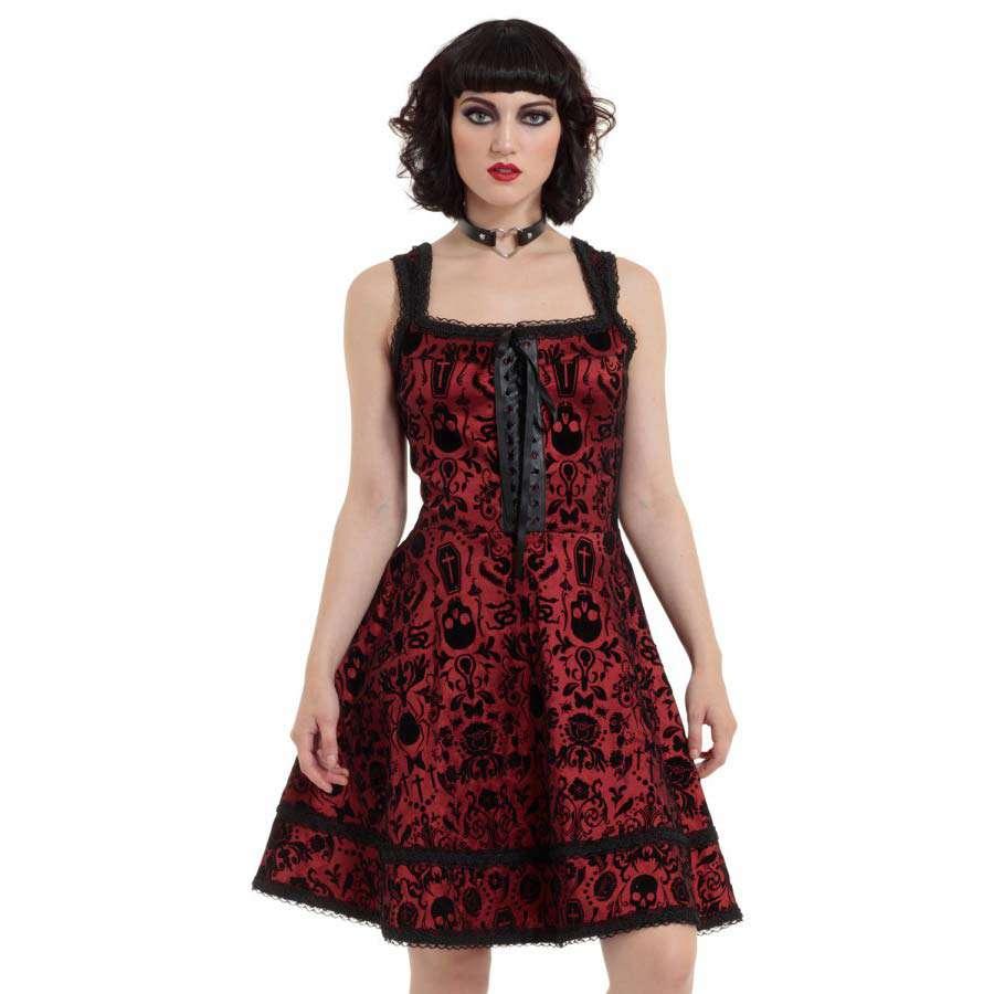 Rotes Gothic Cocktail-Kleid mit schwarzem Flockprint | VOODOOMANIACS