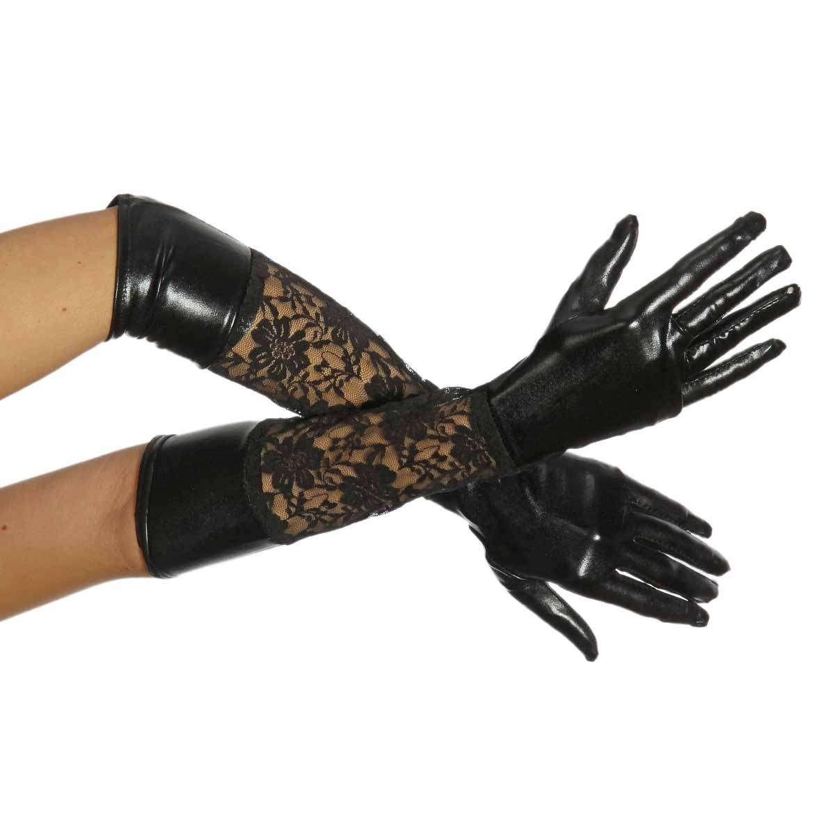 Lange Wetlook Handschuhe mit Spitze   VOODOOMANIACS