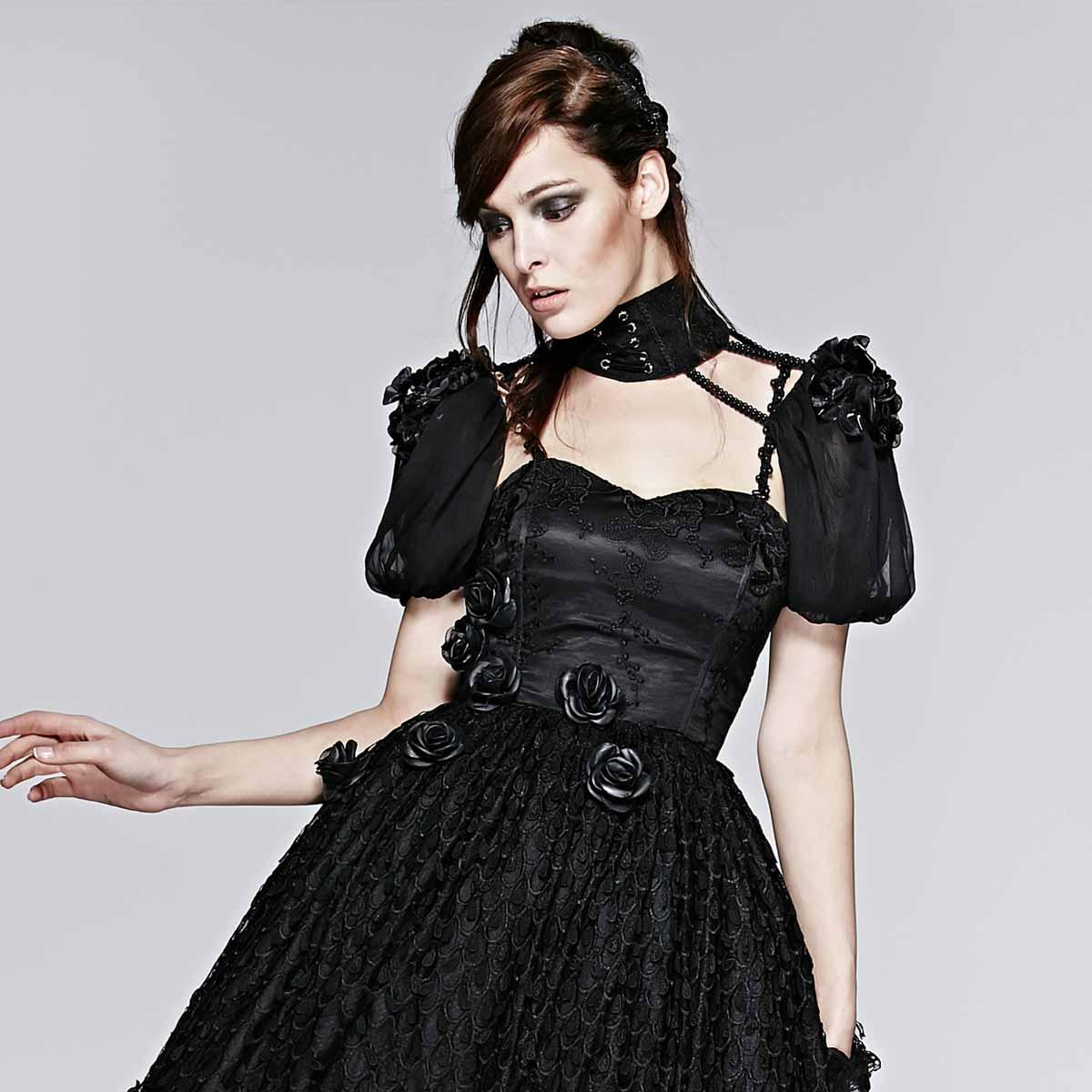 gothic halsband mit t ll rmeln im bolero style voodoomaniacs. Black Bedroom Furniture Sets. Home Design Ideas