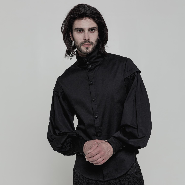 Gothic Style Hemd mit Stehkragen und Ballonärmeln