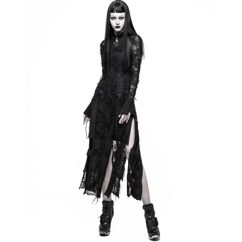 Langes schwarzes Kleid in zerschlissenem Fetzenlook | VOODOOMANIACS