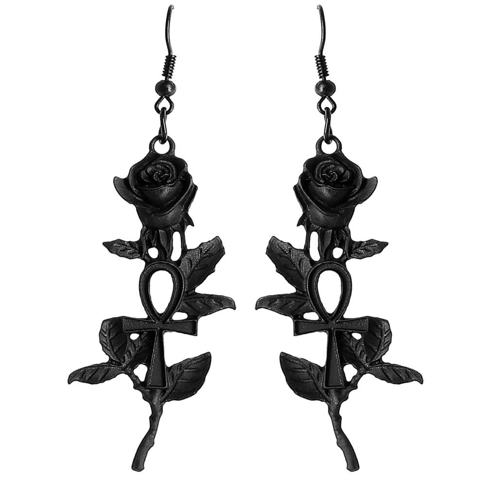 Schwarze Rosen Ohrhänger mit Ankh Symbolen