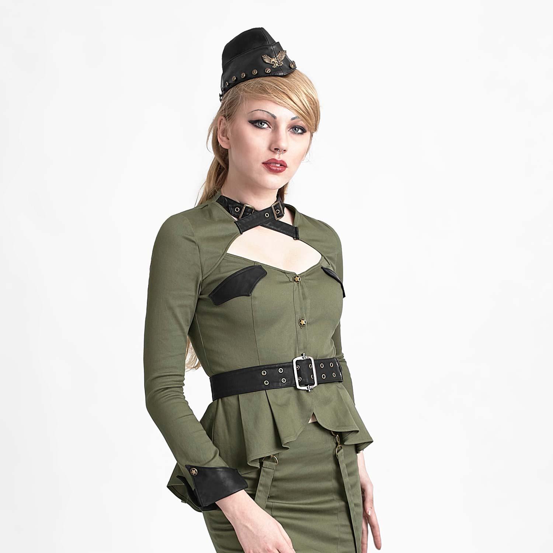 military bluse mit sch chen und g rtel olivgr n. Black Bedroom Furniture Sets. Home Design Ideas