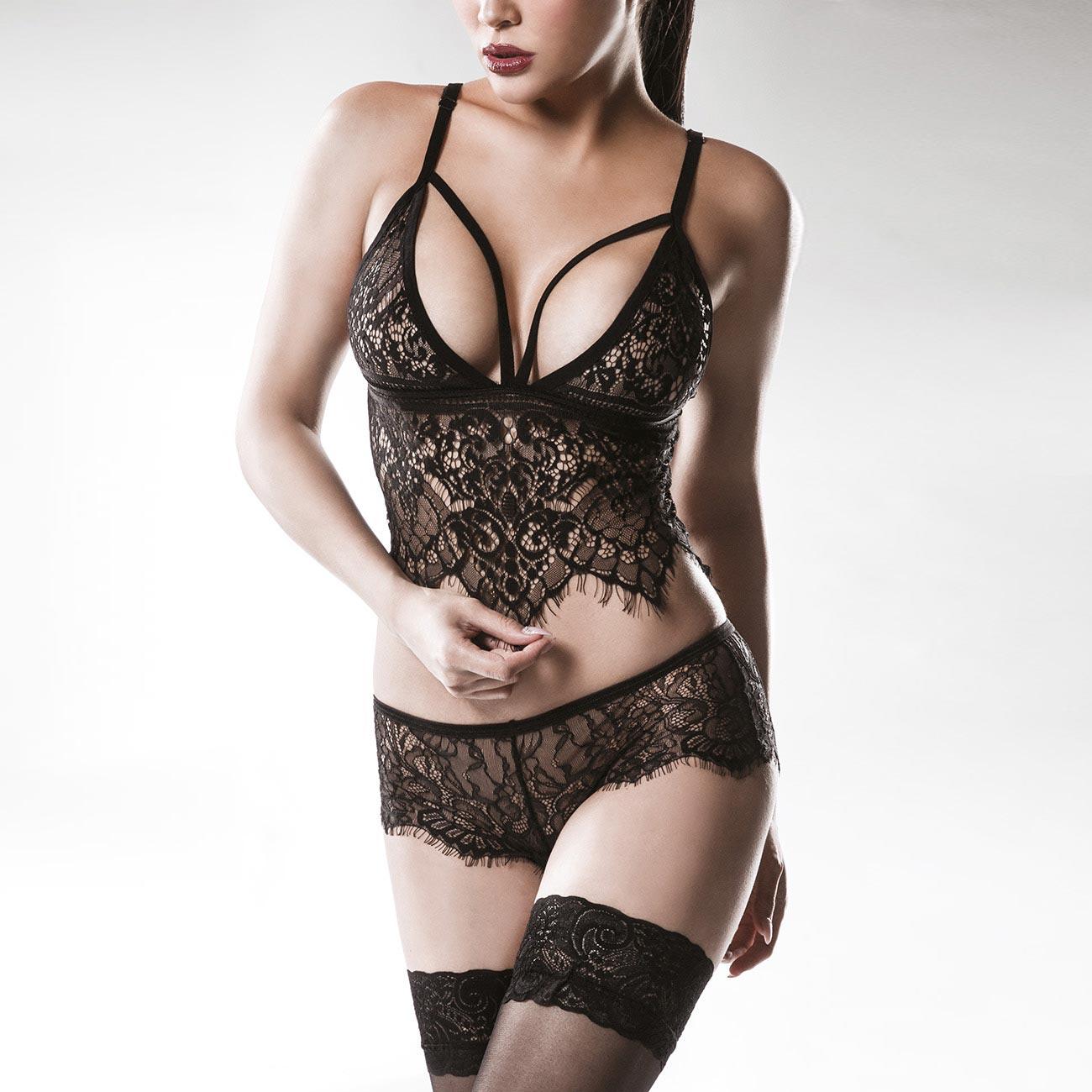 Erotisches Dessous Set aus Spitze mit Bustier Top