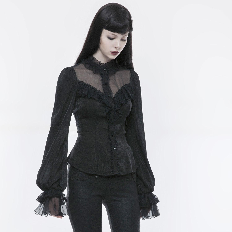 Dark Romantic Rüschentop im Daily Goth Style