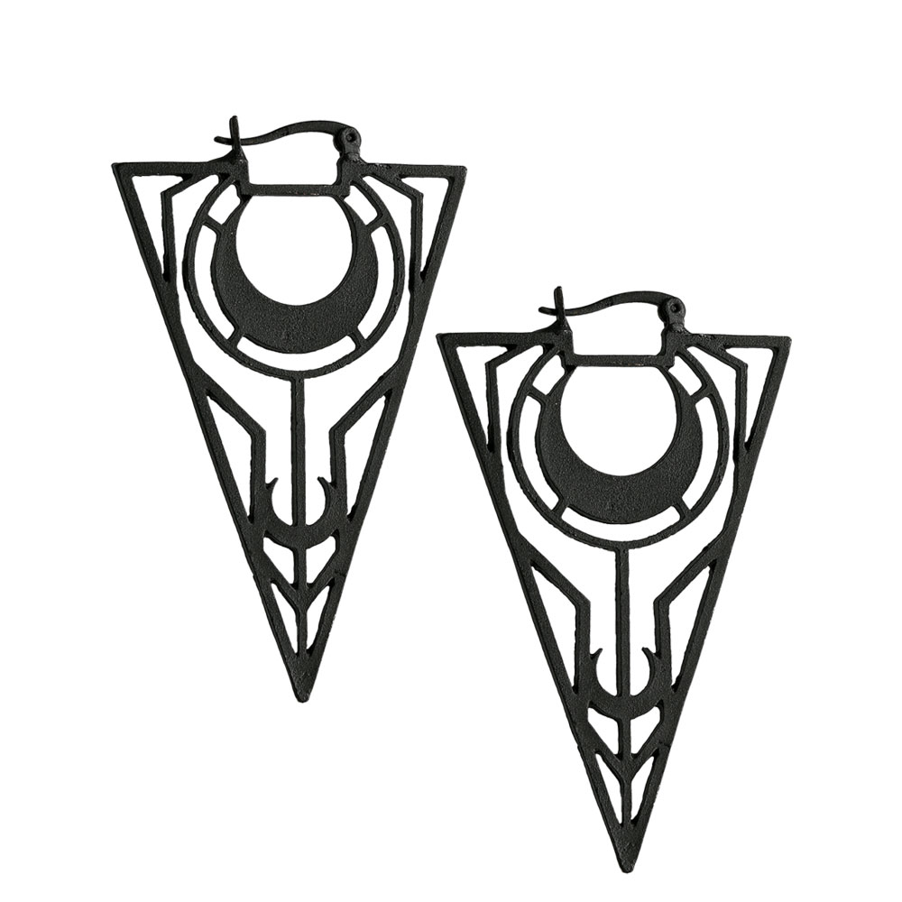 Mystische Triangel Ohrhänger Sichelmond Ornamenten