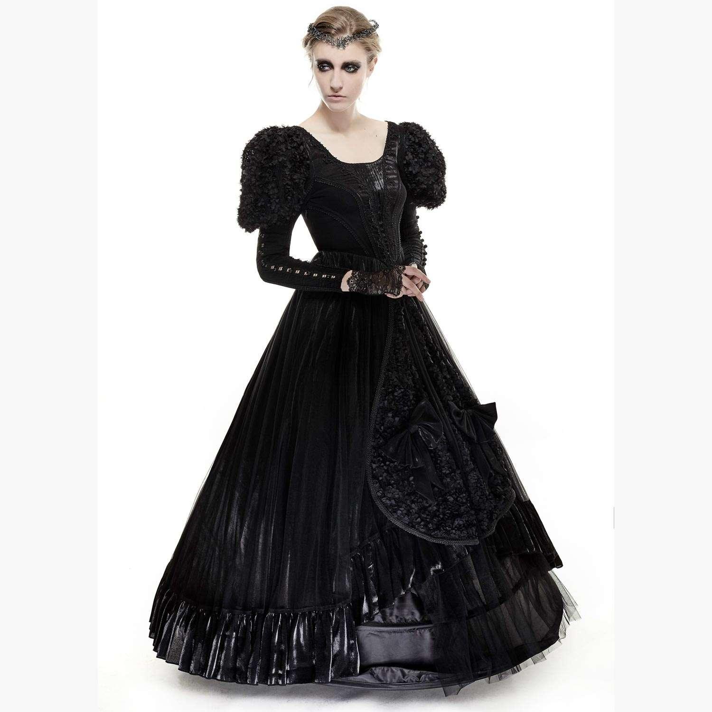 Schwarzes Gothic Brautkleid in viktorianischem Look | VOODOOMANIACS