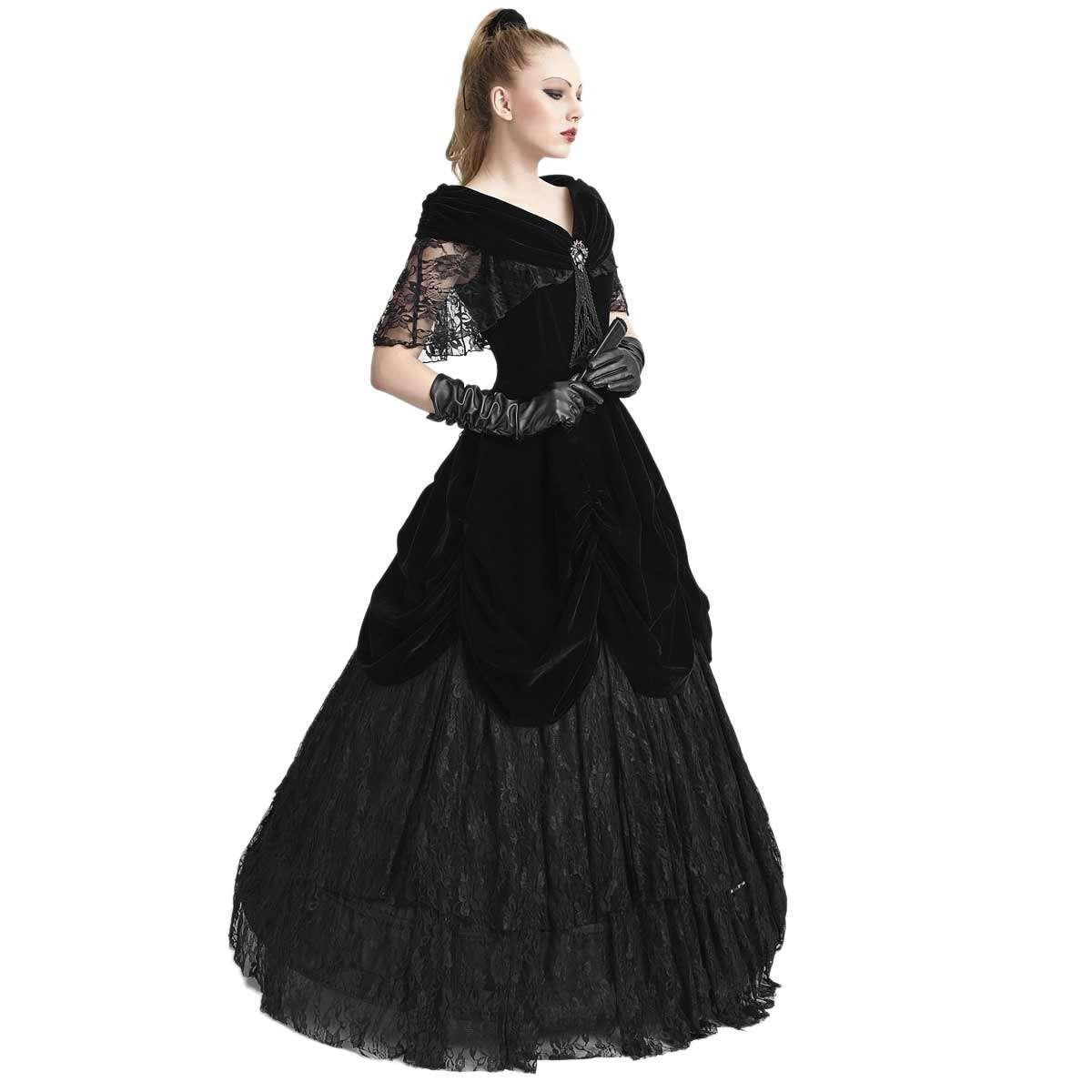 Viktorianisches Ballkleid aus Samt und Spitze | VOODOOMANIACS