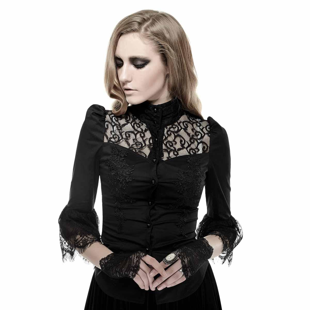 Viktorianische Bluse mit Spitze und Rückenschnürung