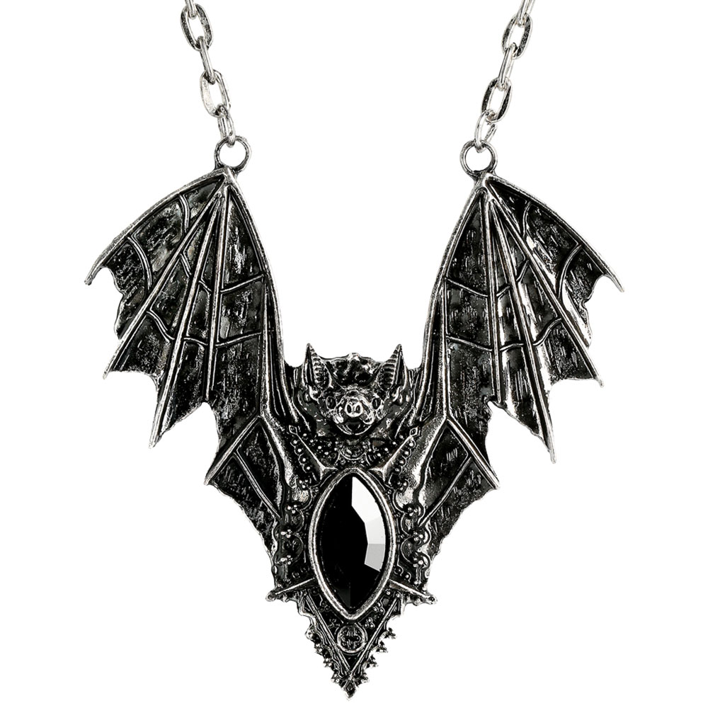 Fledermaus Halskette mit schwarzem Schmuckstein