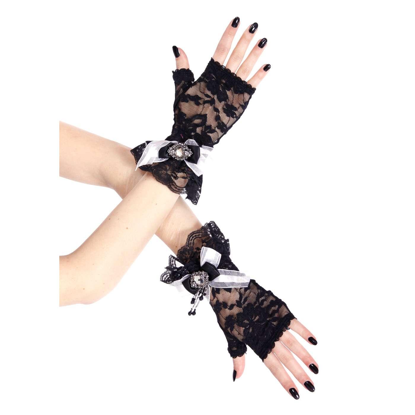 Handschuhe schwarze Spitze in viktorianischem Look   VOODOOMANIACS
