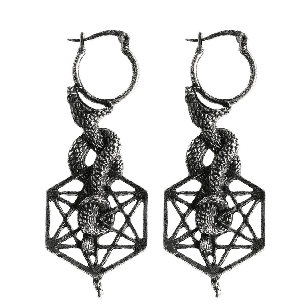 Mythische Ohrhänger mit Schlangen und Meatron Symbol