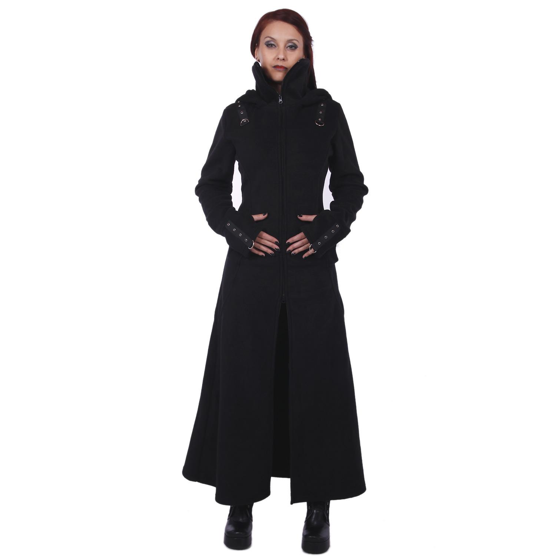 langer mantel mit grosser kapuze schn rung raven coat. Black Bedroom Furniture Sets. Home Design Ideas